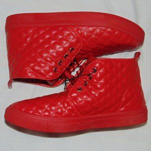 NWT Tim Evans England Red Quilted Hi-Top Sneakers